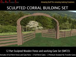 Second Life Marketplace Corral Gate And Sculpted Fence Building Kit Sculpted Horse Fence Sculpted Wood Fence Sculpty Paddock Fences Swf23