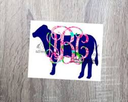 Lilly Pulitzer Inspired Cow Monogram Decal Monogram Decal Cow Decal Macbook Decal Car Decal Window Car Monogram Decal Monogram Vinyl Decal Monogram Decal