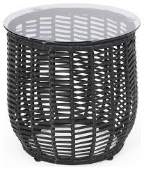 boynton wicker side table with tempered