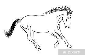 Sticker Rennend Paard Tekening Zwart Wit Pixers We Leven Om