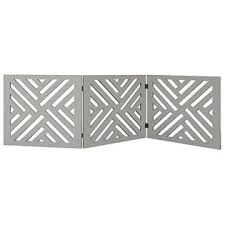 Etna 3 Panel Lattice Design Wooden Pet Gate Freestanding Gray Tri Fold Dog Fence For Doorways Stairs Indoor Outdoor
