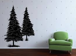 Amazon Com Vinyl Wall Decal Two Pine Tree Art Design Sticker Home Kitchen