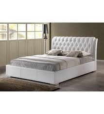 bianca white faux leather platform bed