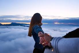 clouds, sky, mountain, people, woman, holding hands, guy, nature, dating |  Pikist