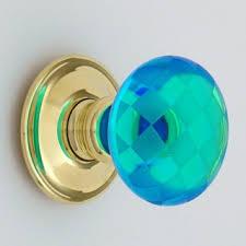 bright blue chequerboard glass door