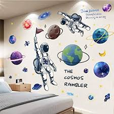 Amazon Com Superduo Outer Space Wall Decor For Boys Room Art Colorful Planets Rocket Spaceship Stars And Astronaut Kids Wall Decal Nursery Bedroom Playroom Classroom Decoration Stickers Arts Crafts Sewing