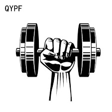 Qypf 15 13 8cm Coolest Dumbbell Fitness Sport Hand Car Sticker Vinyl Motorcycle Bicycle Accessories Decoration C16 0278 Car Stickers Aliexpress
