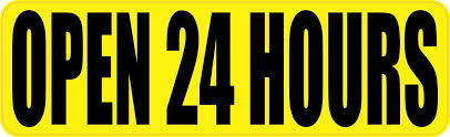 10in X 3in Yellow Open 24 Hours Sticker Vinyl Decal Business Sign Stickers Stickertalk