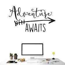 Art Travel Theme Decal Adventure Awaits Quote Arrow Vinyl Wall Decals Living Room Decor Wall Sticker Art Adventure Mural For Kids Bedroom Ny 360 57x100cm Black Buy Products Online With Ubuy Kuwait