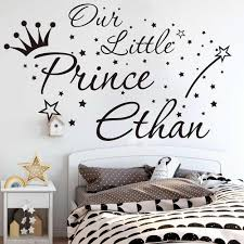 Personalized Name Our Little Prince Wall Sticker Kids Room Bedroom Star Crown Wall Decal Living Room Nursery Vinyl Home Decor Wall Stickers Aliexpress