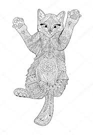 Funny Kitten Coloring Book For Adults Zentangle Cat Book