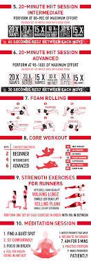 10 at home workouts infographic