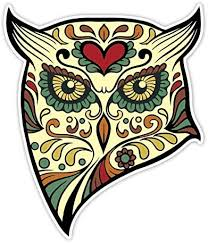 Amazon Com Osmdecals Animal Owl Sugar Skull Sticker Version 40 Day Of The Dead Vinyl Wall Home Decor Car Window Bumper Decal Sticker Automotive