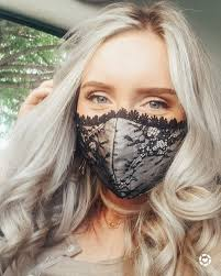 My favorite masks! This lace mask is so unique and a stunner! I got the  pale pink color, with the black lace and Venetian trim. But … in 2020 |  Lace mask,