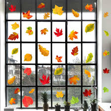 Iarttop Thanksgiving Maple Leaf Wall Decal 48pcs Watercolor Autumn Leaves Sticker For Window Clings Living Room Decor Fall Decals Party Decoration