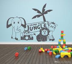 Kids Room Jungle Bedroom Wall Sticker Baby Nursery Decor Elephant Lion Monkey Wall Decal Vinyl Forest Animal Sticker Decal Wall Stickers Decal Walls From Joystickers 8 78 Dhgate Com