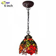 fumat stained glass pendant lamp rose