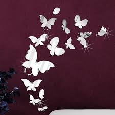 Ebern Designs 14 Mirror Butterflies Wall Art Wall Decal Reviews Wayfair