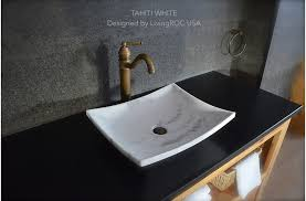 white marble vessel sink natural stone
