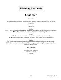 dividing decimals grade 6 8