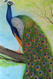 Peacock sitting on tree Painting by Goutami Mishra