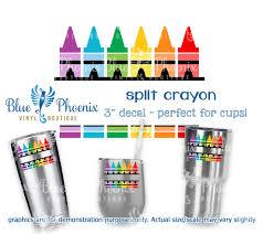Split Crayon Color Cup Decal Blue Phoenix Vinyl Boutique