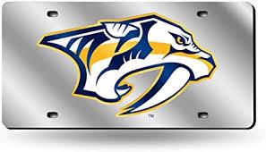 Amazon Com Nashville Predators Silver Laser License Plate Sports Outdoors