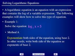 ppt solving logarithmic equations