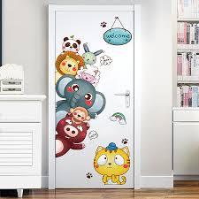 Shijuehezi Cartoon Animal Wall Stickers Diy Door Sticker For Kids Rooms Kindergarten Baby Bedroom Decoration Children Gift Bemmengurun