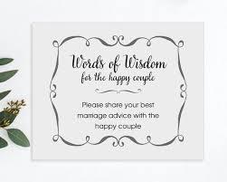 printable wedding advice sign words of