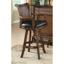 brown bar stool with faux wicker back