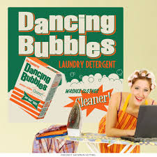 Dancing Bubbles Laundry Wall Decal At Retro Planet