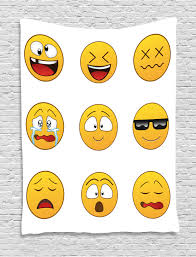 Emoji Tapestry Happy Smiley Angry Furious Sad Face Expressions With Glasses Moods Cartoon Like Print Wall Hanging For Bedroom Living Room Dorm Decor Yellow By Ambesonne Walmart Com Walmart Com