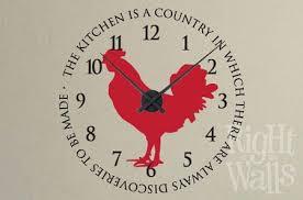 Rooster Kitchen Clock Wall Decals Vinyl Art Stickers