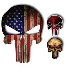 Pack Of 3 Punisher Skull American Flag Vinyl Decal Stickers Car Truck Sniper Marines Army Navy Military Jeep Graphic 5 X 7
