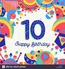 Feliz Cumpleanos 10 Anos Diseno Divertido Con Numero Texto De