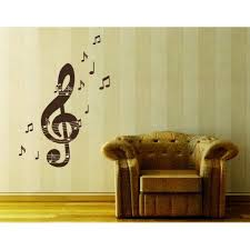 Music Notes With Treble Key Wall Decal Musical Notes Wall Sticker Treble Clef Vinyl Wall Art