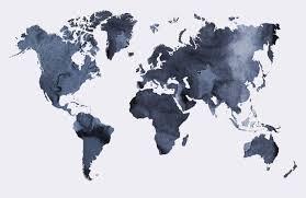 watercolor world map wallpaper mural