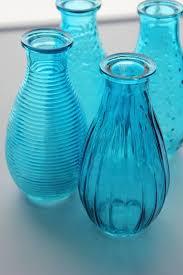 aqua blue bottles bud vase glass vases