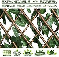 Amazon Com Colourtree Ivy Hedge Backdrop Single Side Retractable Expandable Faux Artificial Ivy Trellis Fence Privacy Scree N Wall Screen Commercial Grade 150 Gsm Heavy Duty 3 Years Warranty 2 Pack Garden Outdoor