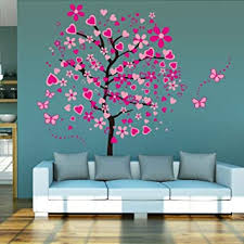 Amazon Com Elecmotive Huge Size Cartoon Heart Tree Butterfly Wall Decals Removable Wall Decor Decorative Painting Supplies Wall Treatments Stickers For Girls Kids Living Room Bedroom Home Improvement