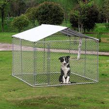 Pawhut Outdoor Dog Kennel Pet Fence With Cover 10 Lx10 Wx6 H Large Dog Playpen Exercise