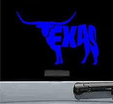 Amazon Com Texas Longhorn Cow Vinyl Decal Sticker Blue Automotive
