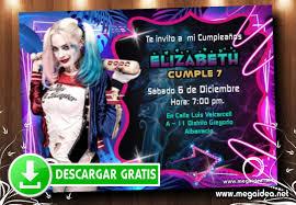 Invitaciones Harley Quinn Para Editar Gratis Mega Idea