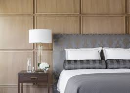 this bedroom uses square wood panels to