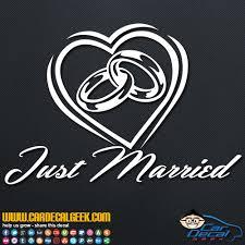 Just Married Wedding Rings Heart Car Window Decal Sticker