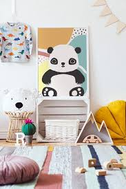 Panda Canvas Art Print Poster Nordic Wall Pictures Kids Room Etsy
