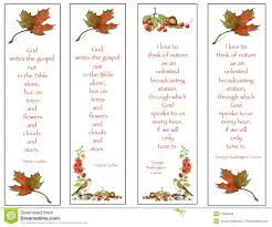 four bookmarks nature drawings quotes stock illustration
