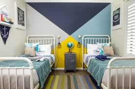 Multicolored Wall Painting Idea For Boys Room White Traditional Bed Frames With Headboard Grey Bedside Table Boy Room Paint Yellow Kids Rooms Yellow Boys Room
