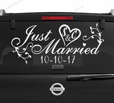 Self Adhesive Wallpaper Murals Just Married Sign Car Window Decal Removable Wedding Decoration Custom Vinyl Stickers Q24 Wall Stickers Aliexpress